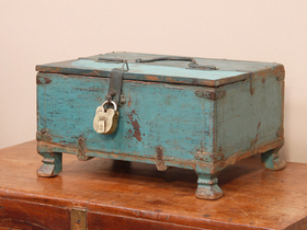 View our  Blue Shekhawati Chest from the  Old Wooden Chests, Trunks & Boxes collection