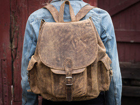 Boys And Girls Leather Backpack  Thumbnail