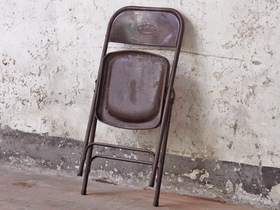Vintage Metal Folding Chairs - Brown Thumbnail
