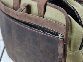 Leather and Canvas Laptop Briefcase Thumbnail