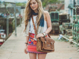 Classic Distressed Leather Satchel 14.5 Inch Thumbnail