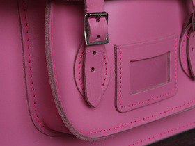 Girls Classic Pink Leather Satchel 15 Inch Thumbnail
