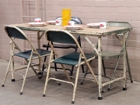 View our  Cream Vintage Wooden And Iron Table from the  Vintage Tables & Desks collection
