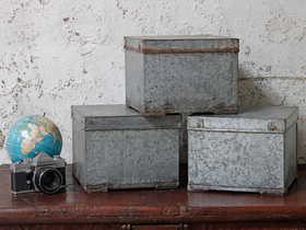 View our  Cube Metal Storage Tin  from the  Old Travel Trunks collection