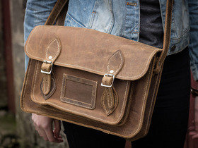 Boys And Girls Distressed Classic Brown Leather Satchel 11 Inch Thumbnail