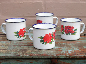 View our  Small Floral Enamel Mugs (Set Of 4) from the  Tableware collection