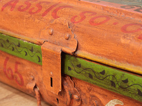 Hand Painted Metal Storage Trunk Thumbnail
