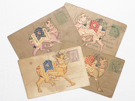 View our  Hand-painted Vintage Indian Postcard - Colourful Camel from the  Vintage Postcards & Posters collection