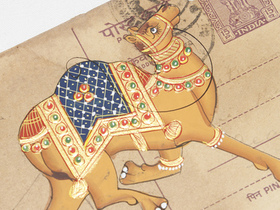 Hand-painted Vintage Indian Postcard - Colourful Camel Thumbnail