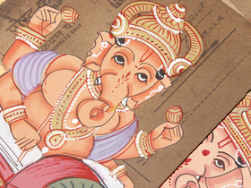 Hand-painted Vintage Indian Postcard - Ganesha Thumbnail