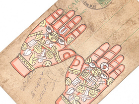 Hand Painted Vintage Postcard - Healing Hands Thumbnail