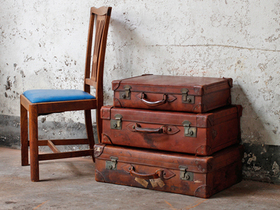 Antique Leather Suitcase by Cleghorn Thumbnail