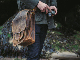 View our Men Men's Vintage Leather Saddle Bag from the Men Laptop Bags collection