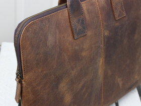 Leather Laptop Bag With Handles Thumbnail