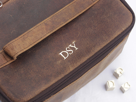 Leather Toiletries & Cosmetics Travel Bag Thumbnail