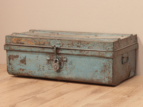 View our  Vintage Blue Metal Travel Suitcase from the  Old Travel Trunks collection