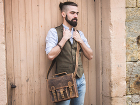 View our Men Mini Leather Satchel With Pocket And Handle 11 Inch from the Men Leather Satchels & Bags collection
