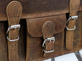 Mini Leather Satchel With Pocket And Handle 11 Inch Thumbnail