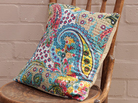 Tan Floral Handstitched Cushion Cover Thumbnail