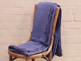 Indigo Geometric Handloomed Blanket Thumbnail