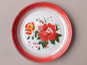 Large Red Floral Enamel Plate Thumbnail
