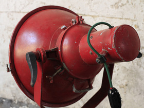 Red Upcycled Vintage Ship's Spotlight Lamp Thumbnail