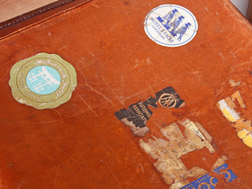 Tan Brown Leather Suitcase Thumbnail