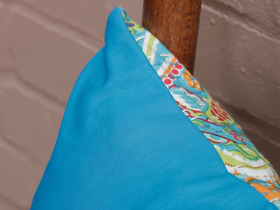 Teal Floral Handstitched Cushion Cover Thumbnail