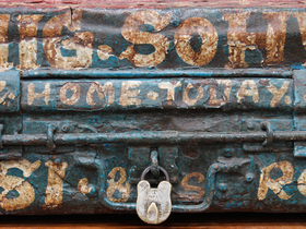 Old Hand-Painted Metal Trunk  Thumbnail