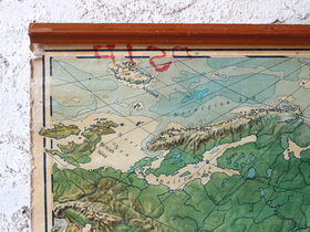 Vintage Canvas Wall Map Of Asia Thumbnail