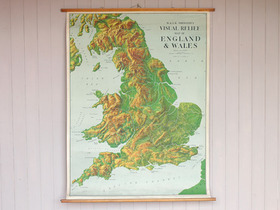 Vintage Canvas England and Wales Wall Map Thumbnail