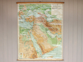 Vintage Canvas Middle East Wall Map Thumbnail