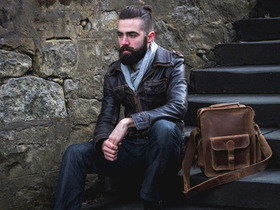 View our Men Vintage Leather Flight Bag 1 from the Men Leather Satchels & Bags collection