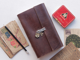 Large Leather Notebook With Padlock Thumbnail