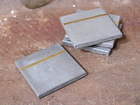 Set of 4 Cement and Brass Coasters Thumbnail