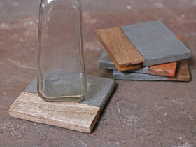 Set of 4 Cement and Wood Coasters Thumbnail