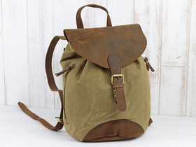 Small Leather And Canvas Backpack Thumbnail