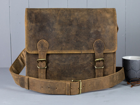 More views of Small Leather Satchel 13 Inch