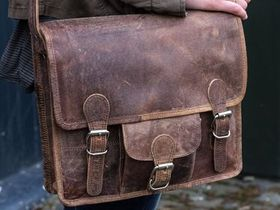 Small Leather Satchel With Front Pocket 13 Inch Thumbnail