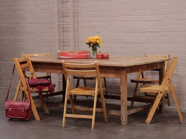 View our  Antique Rustic Pine Farmhouse Table from the  Vintage Tables & Desks collection