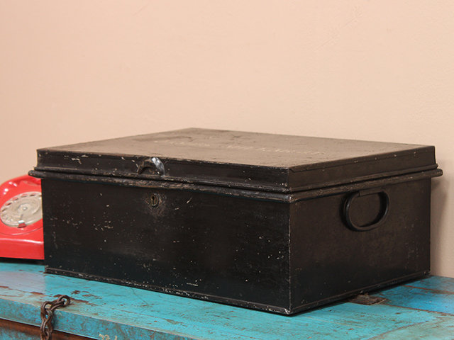 View our  Vintage 1930s Metal Deed Strong Box from the  Old Wooden Chests, Trunks & Boxes collection
