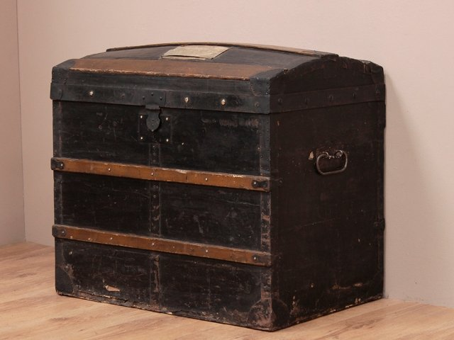 View our  Antique Domed Pine Chest from the  Old Travel Trunks collection