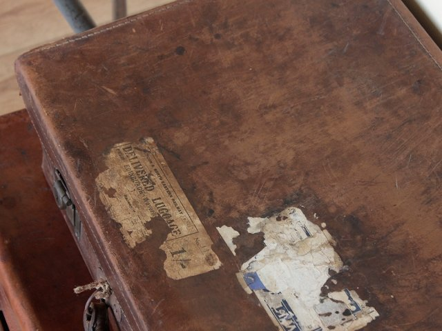 Distressed Vintage Leather Suitcase Thumbnail