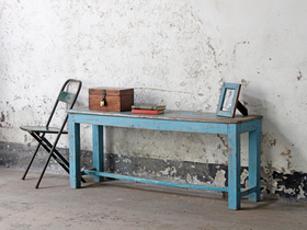 Blue Vintage Wooden Bench Thumbnail