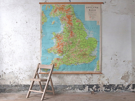 Large Vintage Map of England and Wales Thumbnail