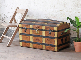 Antique Leather Travel Trunk Thumbnail