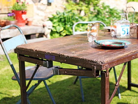 Vintage Folding Table - Red Legs Thumbnail