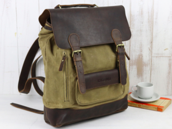 /Large Leather and Canvas Backpack