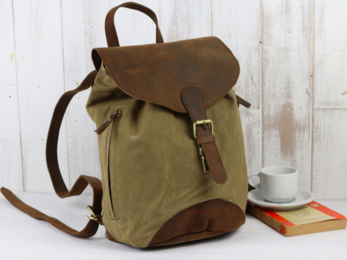 /Small Leather and Canvas Backpack