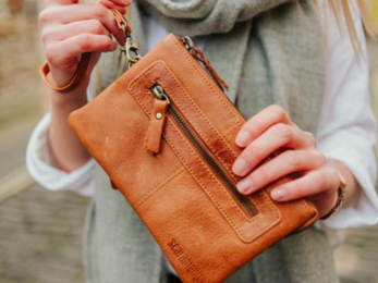 /Leather Wristlet Clutch